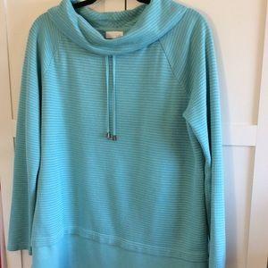 J Jill Cowl Neck Sweatshirt Turquoise Med